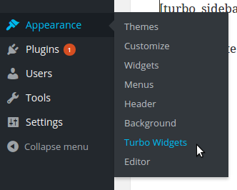 Turbo Sidebar Menu Item