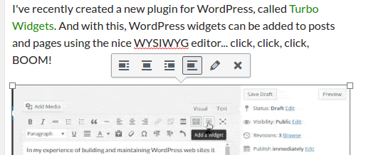 Screenshot of the default image edit toolbar in WordPress